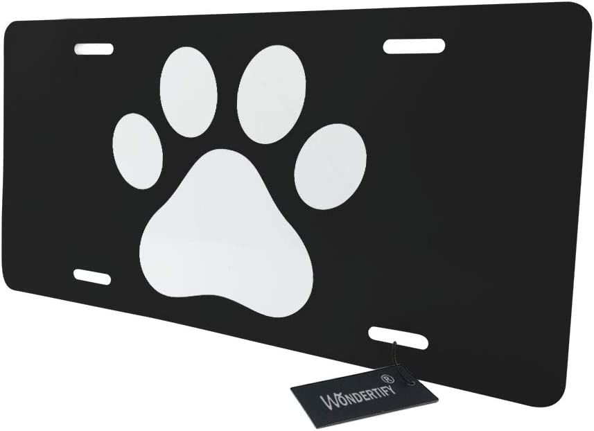 4 Holes WONDERTIFY License Plate White Dog Paw Footprint Icon Isolated on Black Background Decorative Car Front License Plate,Vanity Tag,Metal Car Plate,Aluminum Novelty License Plate,6 X 12 Inch