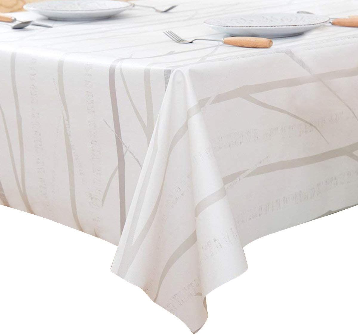 Check,137 * 137cm Kandor Heavy Weight Vinyl Dinning Table Cloth for Rectangle Table Wipe Clean PVC Tablecloth Oil-Proof Waterproof Stain-Resistant