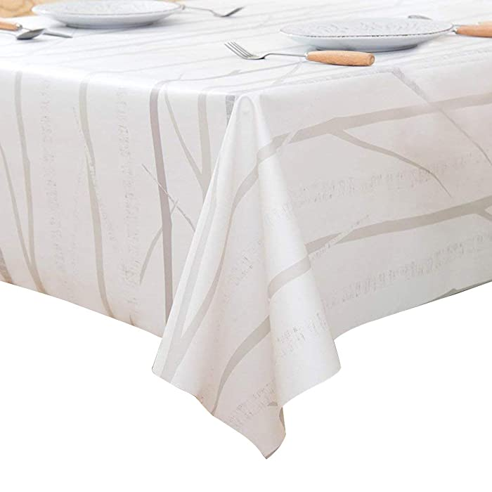 LEEVAN Heavy Weight Vinyl Rectangle Table Cover Wipe Clean PVC Tablecloth Oil-Proof/Waterproof Stain-Resistant-54 x 108 Inch (Tree Branch)