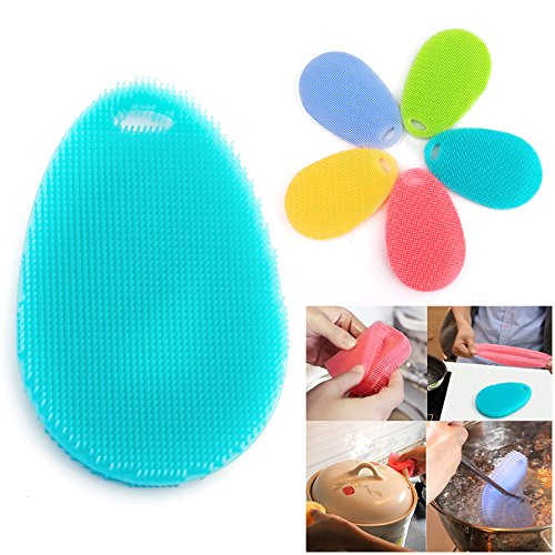 Pacuwi 5 Pack Silicone Dish Wash Brush Scrubber Multifunctional Antibacterial Food-Grade Non Stick Heat-resistant Dishwashing Towel Sponge for Kitchen Cleaning Pot Pan Dish Bowl Fruit Vegetable