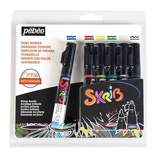 Pébéo 371103Set Skrib Acrylic Painting Paint 6Multi-Coloured 18.3x 2.1x 18.1cm (Drawing Pebeo)