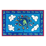 Flagship Carpets CE189-28W Happy World Rug, Promotes Acceptance with Cheerful Friends of Diverse Backgrounds, 5' x 8', 60'' Length, 96'' Width, Blue/Multi-Color