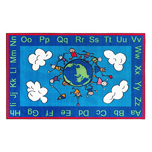 Flagship Carpets CE189-28W Happy World Rug, Promotes Acceptance with Cheerful Friends of Diverse Backgrounds, 5' x 8', 60