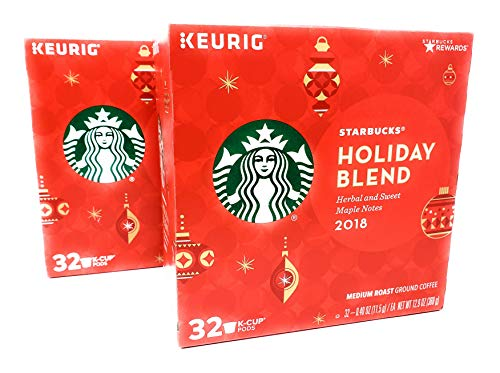 Starbucks Holiday Blend K Cups 2018 Version - 64 K Cups Total - Medium Roast Coffee with Herbal and Sweet Maple Notes (2 Boxes, 32 K Cups Each, 64 K Cups Total)