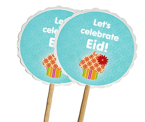 Price comparison product image Zaffron Eid Ramadan Round Cupcake Toppers and Party Picks Cupcake Design (12 pack)