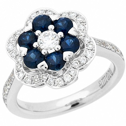 Amoro 18k White Gold Sapphire and Diamond Ring (0.55 cttw, H-I Color, SI1- SI2 Clarity) ()