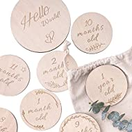 HAN-MM Baby Monthly Cards Wooden Cards, Double Sided Discs,Baby Gift Sets, Stickers Blocks, Set of 13: Includes 12 Cards (4.1 Inch) and 1 Customizable Birth Card(5.7 Inch) with Drawstring Bag