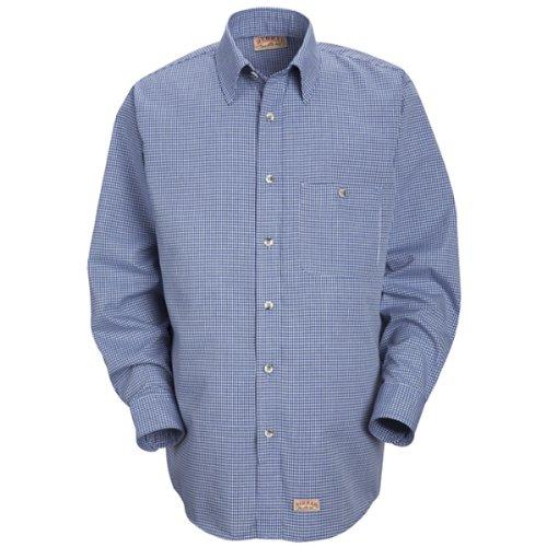 Mini Tartan Shirt - Red Kap Men's Mini-Plaid Uniform Shirt, White/Blue, Medium 323 inch sleeve