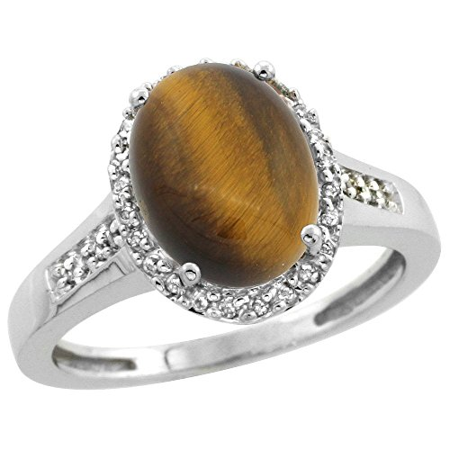 Sterling Silver Diamond Natural Tiger Eye Ring Oval 10x8mm, 1/2 inch wide, size 7 by Sabrina Silver