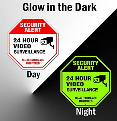 Famtec Video Surveillance Sign - 40 mil Rust Free Aluminium - Glow-in-the-Dark-Signs, Home Business, 24 Hours Security, All Activities are Monitored -CCTV Security Alert-Large 12 X 12 Octagon (Red) from Famasys
