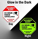Famtec Video Surveillance Sign - 40 mil Rust Free Aluminium - Glow-in-The-Dark-Signs, Home Business, 24 Hours Security, All Activities are Monitored -CCTV Security Alert-Large 12 X 12 Octagon (Red)