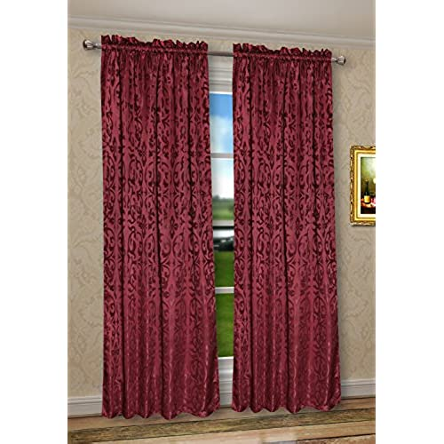 Pack Of 2 CaliTime Rod Pocket Window Curtains Panels For Bedroom Damask Vintage Floral Each 56 By 84 Inches Total 112 X Burgundy