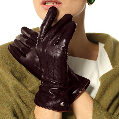 Elma Women's Touch Screen Italian Nappa Leather Winter Texting Gloves Pure Cashmere Warm Lining (7.5, Brown) (Ladies Brown Leather Gloves)