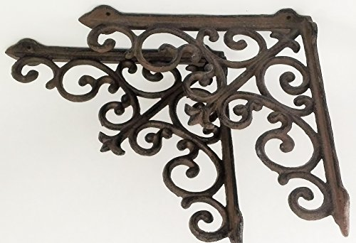 Aunt Chris' Products - Lot/Set of 2 - 10 Inch - Thick Victorian Shelf Bracket - Heavy Cast Iron - Scroll Design - All-Purpose Hanger - Dark Brown - Primitive Design - Indoor or Outdoor - Pottery Window Box