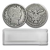 1892 - 1916 90% Silver Barber Quarters 40-Coin Roll Avg Circ Quarter Very Good