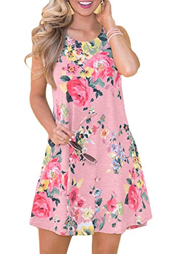 Spadehill Women's Loose Fit Pocket Swing Sleeveless Cotton Sundress Casual Floral Printed Boho Beach Tank Tunic Dress Pink (Pink Floral Summer Dress)