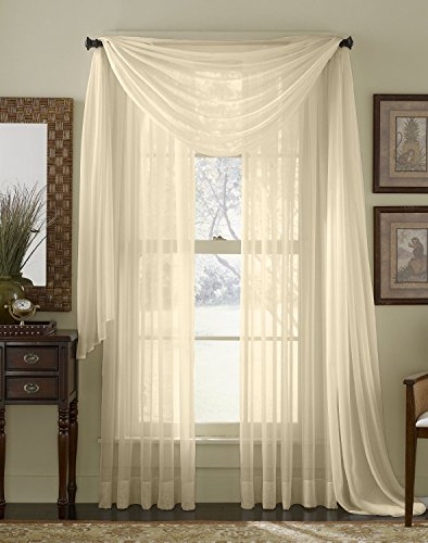 HLC.ME Beige Sheer Voile Window Curtain Scarf - Valance - Fully Stitched & Hemmed - 56