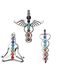 ESCU 7 Chakra Stone Pendant Crystal Reiki Healing Balancing-YOGA&Angel Wings& Holy Sword Style 3pc