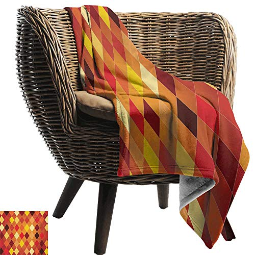 (BelleAckerman Wearable Blanket,Geometric,Argyle Pattern with Colorful Rhombuses Classic Lozenge Geometric Arrangement,Multicolor,300GSM, Super Soft and Warm, Durable)