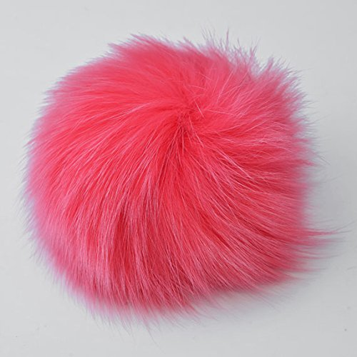 Natural Fox Fur Pom Pom balls by pc, Approx. 4 to 5, Coral Pink, TR-11081