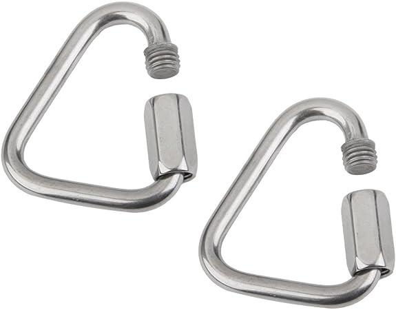 MagiDeal 2 Piezas Mosquetón Aluminio Tornillo de Bloqueo Gancho Escalada Triángulo Forma