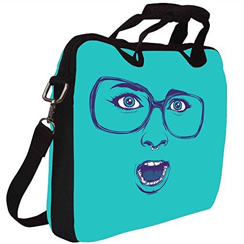 Snoogg Shocker Gesicht Gedruckt Notebook-Tasche mit Schultergurt 15 bis 15,6 Zoll