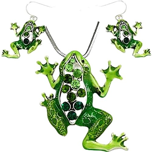 DianaL Boutique Beautiful Emerald Green Frog Pendant Necklace and Earrings Set 18