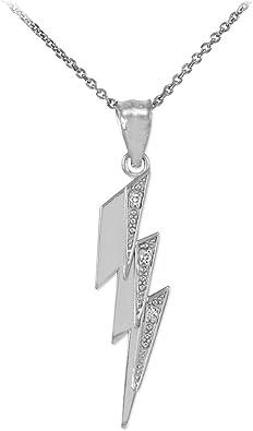 Clear Quartz Lightning Bolt Pendant Necklace