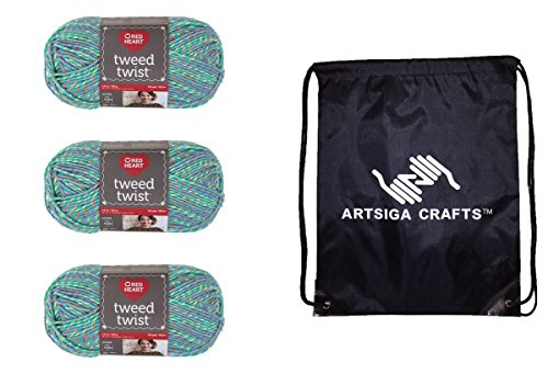Red Heart Bundle: 3-Pack Red Heart Tweed Twist Yarn Turqua E836-9512 with 1 Artsiga Crafts Project Bag