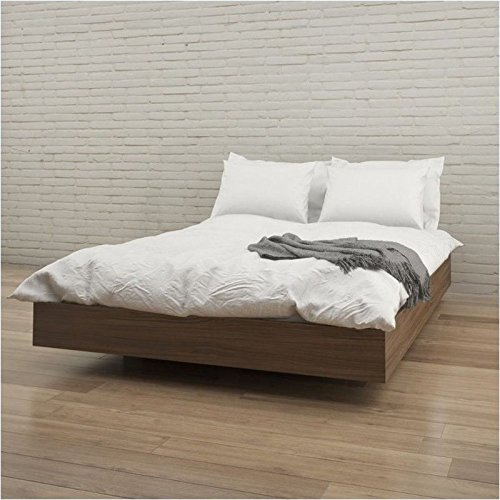 Pemberly Row Queen Size Platform Bed in (Contemporary Walnut Bed)