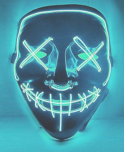 Cosweet Halloween Lighting Mask Scary Cosplay LED Costume Mask for Halloween Festival Parties-Ice -