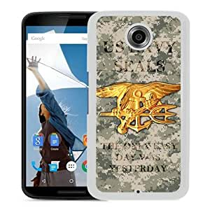Fashionable And Unique Designed Case For Google Nexus 6 Phone Case With United States Navy Seals White