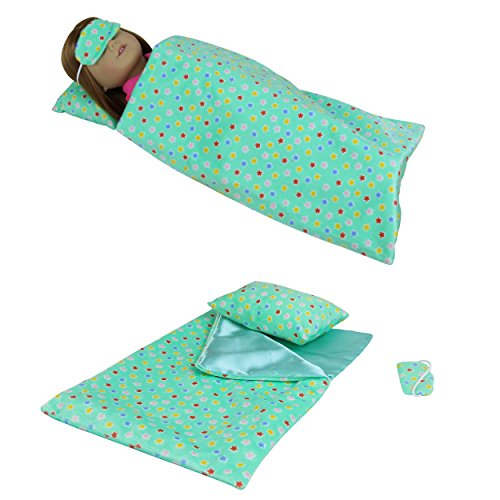 3 PCS Doll Accessories with Sleeping Bag, Pillow & Eye Mask for 16-18 Inch American Girl Doll – by ZITA ELEMENT (Green)