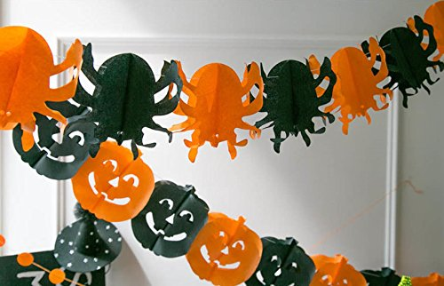 Cheap Diy College Halloween Costumes (DECOLUV DIY Party Banner - DIY Bunting Banner Decoration Party Garland (Pumpkin & Spider))