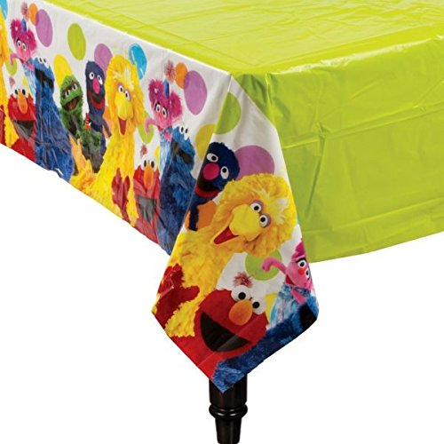 [Amscan Sesame Street Plastic Table Cover, Multicolor] (Sesame Street Birthday Party Supplies)