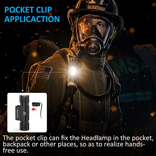 LED Head Torch, 1200 Lumen Rechargeable 2 Pack CREE LED Headlamps 2600 mAh Battery - Lightweight, Durable, Waterproof and Dustproof Headlight - Max Bright 1640 ft Beam - Camping and Hiking Gear