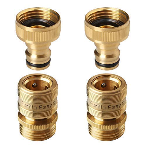 GORILLA EASY CONNECT Garden Hose Quick Connect Fittings. ¾ Inch GHT Solid Brass. 2 Sets of Male & Female Connectors. ()