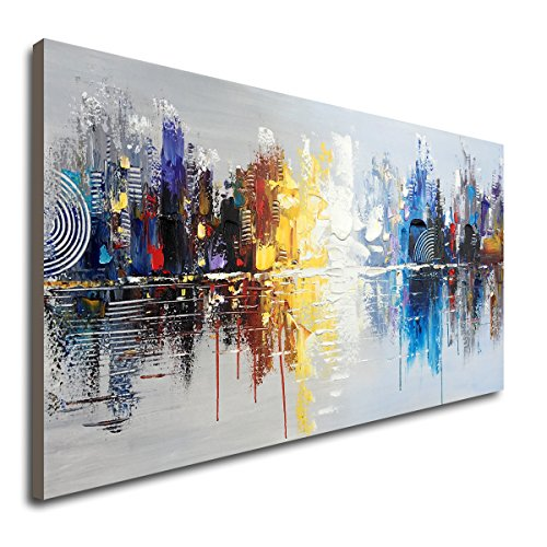 Large Hand Painted Abstract Reflection Cityscape Canvas Wall Art Modern Oil Painting Contemporary Decor Artwork (60 x 30 inch) (Decor Wall Painting)