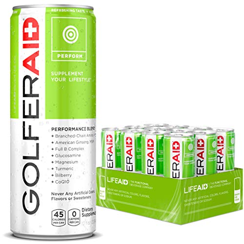 GOLFERAID Performance Blend   Caffeine-Free   Only the Good Stuff—Contains BCAAs, Glucosamine, Turmeric   No Artificial Flavors or Sweeteners   100% Clean, Vegan, Gluten-Free   12-oz. can (Pack of 1