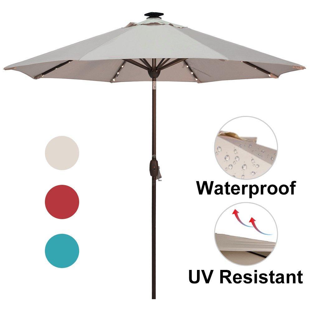 Amazon Com Sorara Patio Umbrella With Solar Powered 64 Led Lights