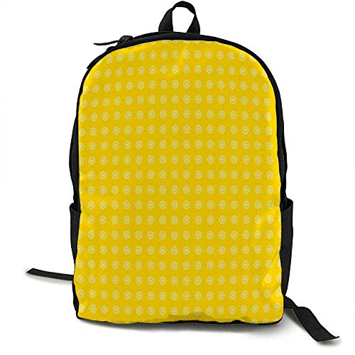 Yellow Light travel backpack Hippie Flower Childrens 70s Retro Themed Pattern Floral Daisy Design Artprint Multi-functional daily carrying 16.5 x 12.5 x 5.5 Inch Yellow and White