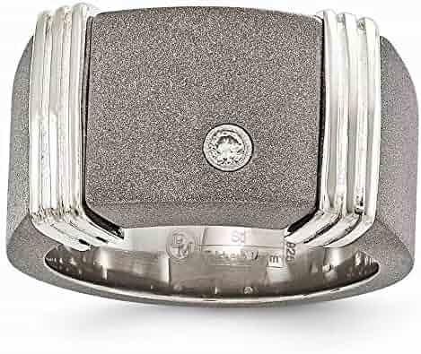 Size Jay Seiler Titanium Ridged Edge 8mm Laser Design Brushed /& Polished Band Titanium 7.5