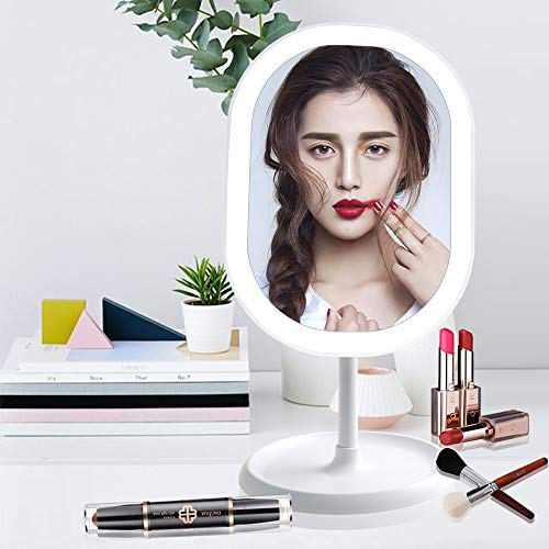 - LED Lighted Makeup Mirror with Lights, [Rechargeable] Portable Vanity Mirror, Touch Screen Switch, 180 Degrees Free Rotation