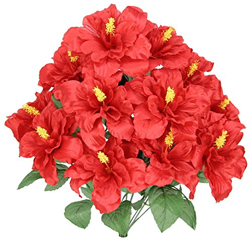 - Admired By Nature GPB5325-RED 12 Stems Hibiscus Flowers Bush, Red, Piece