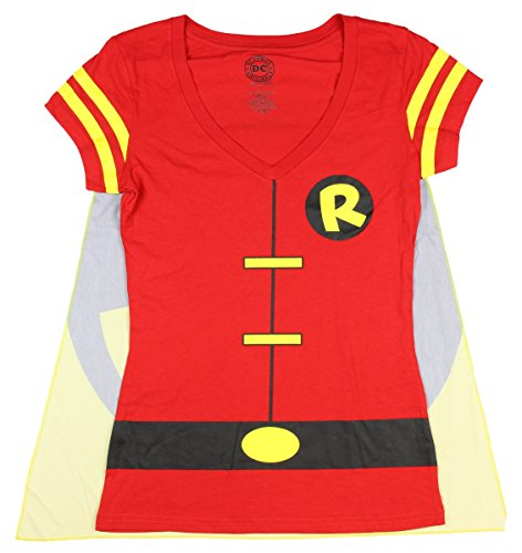 Junior's DC Comics Robin Batman Costume Licensed Graphic T-Shirt w/ Cape - -