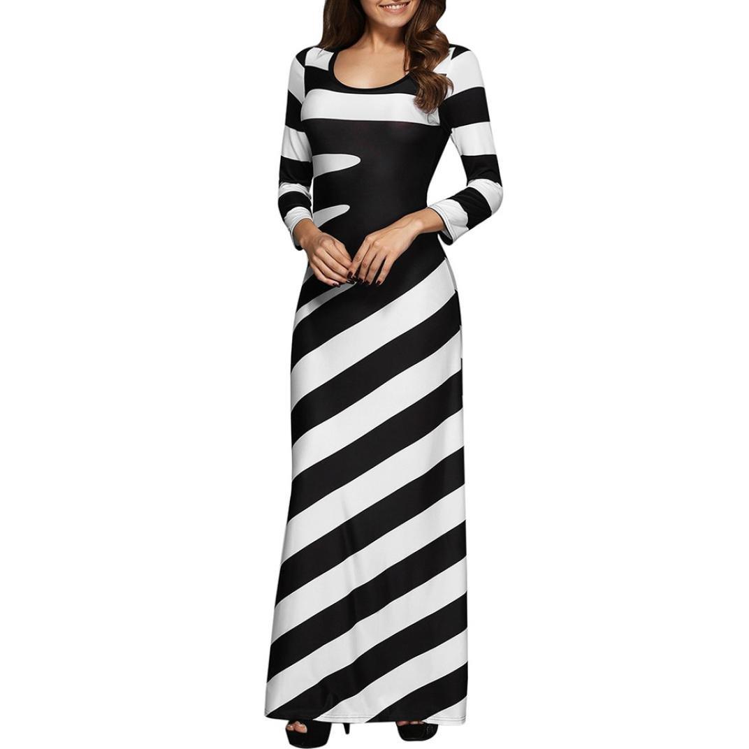 Anxinke 2017 New Spring Summer Women Stripe Long Sleeve Round Neck Maxi Dress (L)