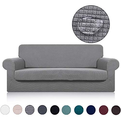 Large Sofa Cover with Separate Seat Cushion Cover(2 Pieces Set) - Water Repellent,Jacquard,High Stretch - Living Room Couch Slipcover/Protector/Shield for Dog Cat Pets(4 Seater Sofa,Light Grey)