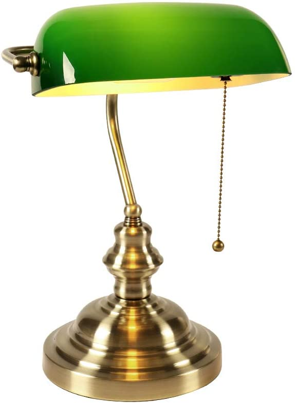 Newrays Green Glass Bankers Desk Lamp with Pull Chain Switch Plug in Fixture,Satin Brass Finish