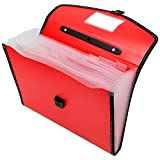 TRANBO Full Expanding A4 Document Organizer with 13 Pockets, Handle, Index Tab (Red)