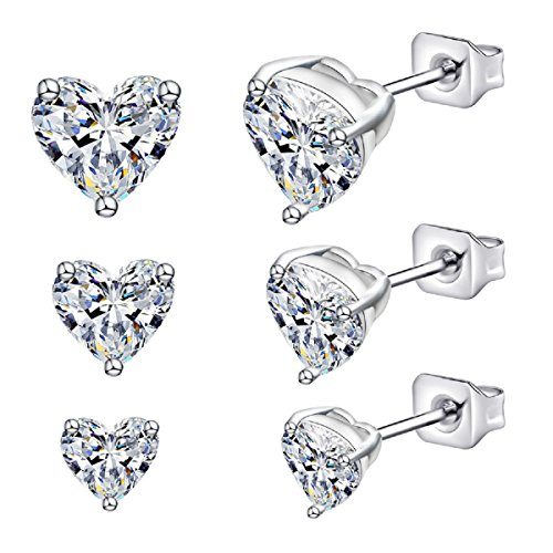Anni Coco Jewelry 18K White Gold Plated Stainless Steel Clear CZ Ear Stud Earrings Set (3-6 Pairs) (3 Pairs Clear Heart Stud (4 Mm Heart Stud)